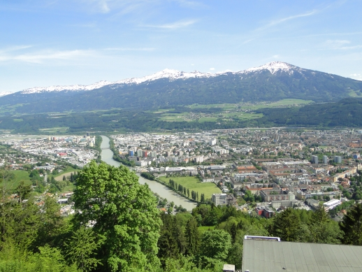 Montanha Nordkette - Vista para cidade